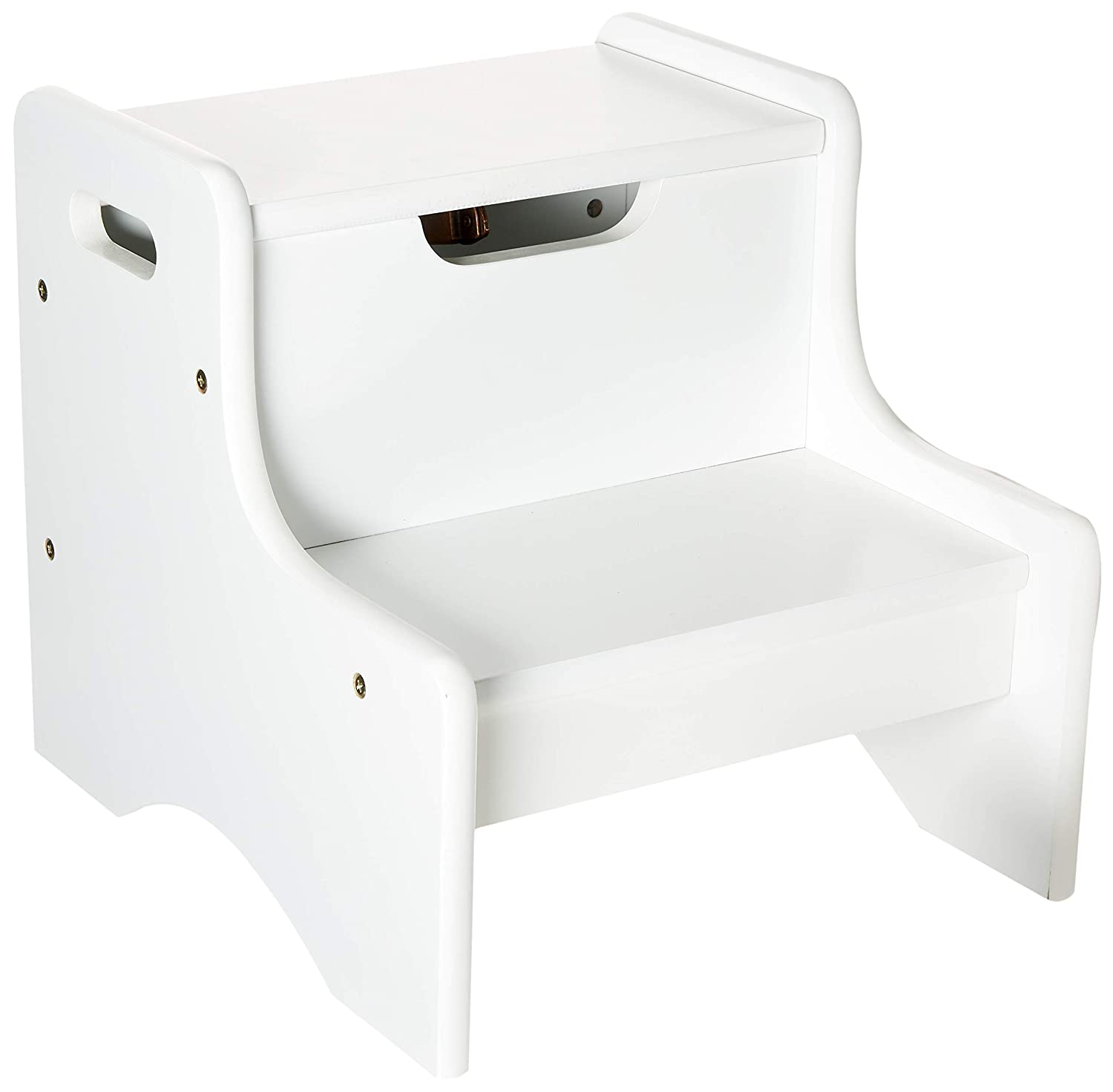Gift Mark Childrens Two Step Stool with Storage, White 2020W