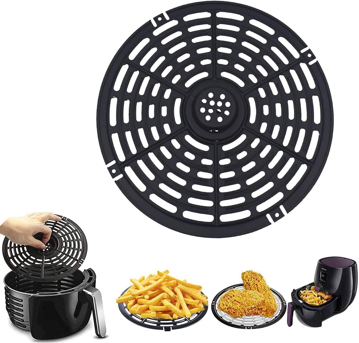 Air Fryer Grill Pan Replacement, 6.14'' Air Fryer Replacement Parts, Air fryer Grill Plate Fry Pan Accessories, Non-Stick Fry Pan, Dishwasher Safe (6.14 In)
