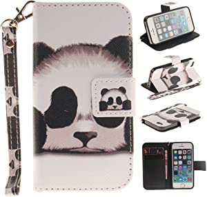 iPhone 5S Case,iPhone SE Case,Gift_Source [Kickstand] [Card Slots] Premium PU Leather Wallet Folio Flip Case Stand Cover Magnetic Closure & Wrist Strap for iPhone SE/iPhone 5/5s [Panda]