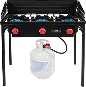 Hike Crew Cast Iron 3-Burner Outdoor Gas Stove | 225,000 BTU Portable Propane-Powered Cooktop with Removable Legs, Temperature Control Knobs, Wind Panels, Hose, Regulator & Storage Carry Case