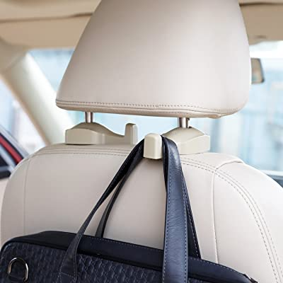 CHITRONIC Car SUV Seat Back Headrest Hanger Hooks - Set of 2 (Beige): Automotive