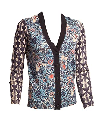 17acf9df5db Tory Burch Kensington Mixed-print Merino Wool Cardigan Sweater Small ...