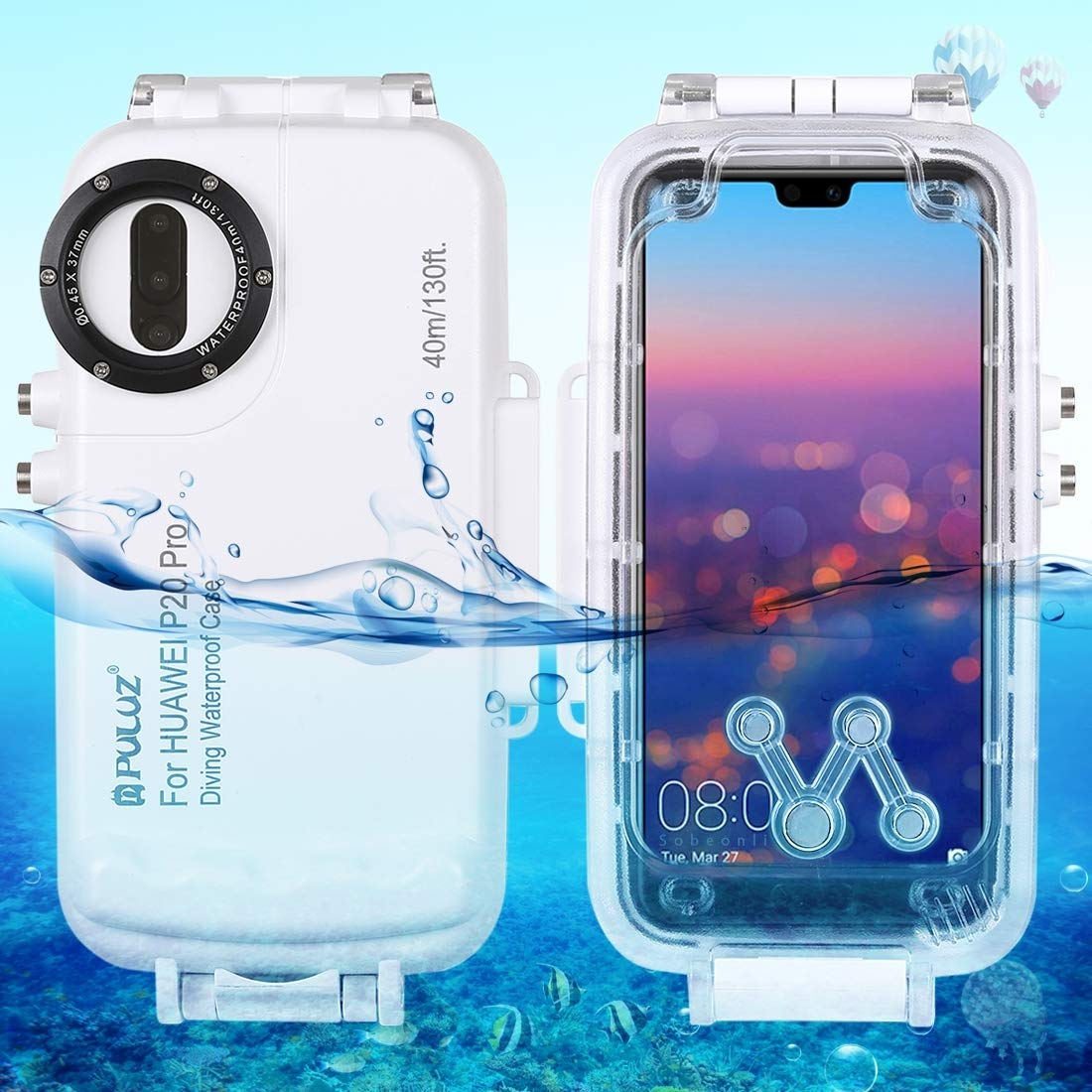 Lstwgc Huawei P20 Pro Dry Bag Case, PULUZ 40m/130ft Waterproof Diving Housing Photo Video Taking Underwater Cover Case for Huawei P20 Pro (Color : White)
