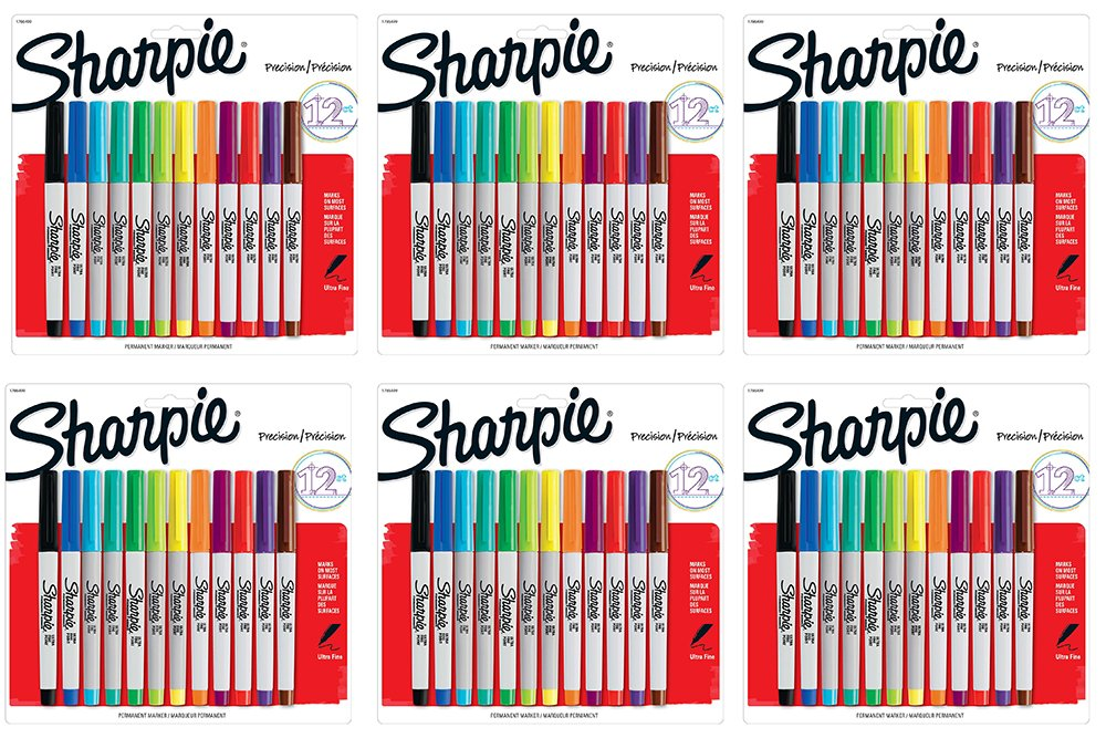 Sharpie Permanent XnebV Markers, Ultra-Fine Point, Assorted Colors, 12 Count (6 Pack)