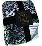 """Silver One Luxury Animal Safari Faux Fur Throw All Season Decorative Blanket for Bed or Couch 