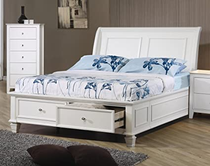 Amazon.com: Coaster 400239T-CO Twin Sandy Beach Sleigh Bed, White ...