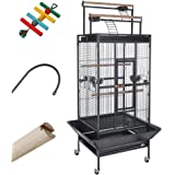 Yescom Parrot Bird Cage Storey Large Play Top Double Ladder Design House Pet Supply for Macaws Finch w/Free Toy