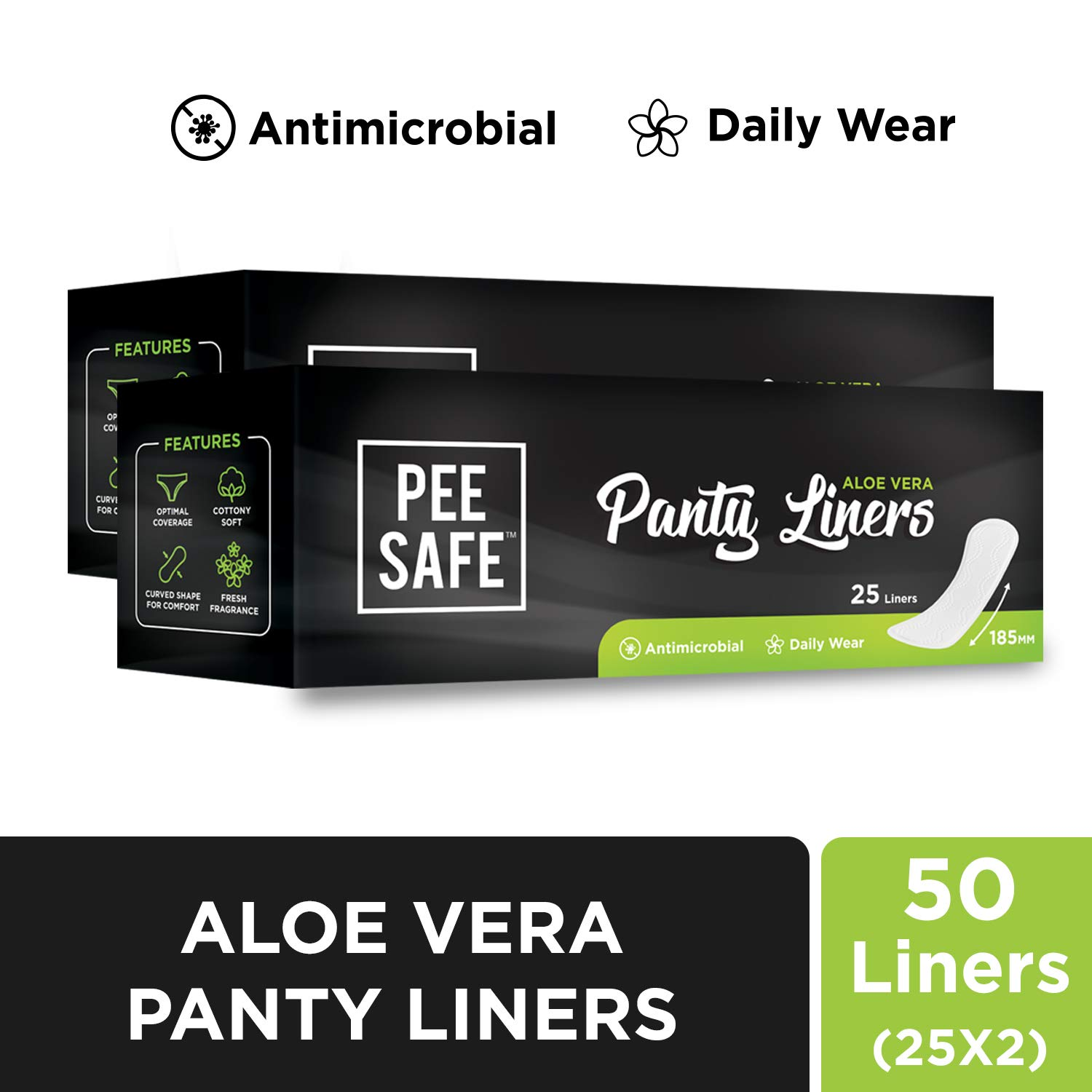 Pee Safe Aloe Vera Panty Liners (Set of 2, 50 Count) product image