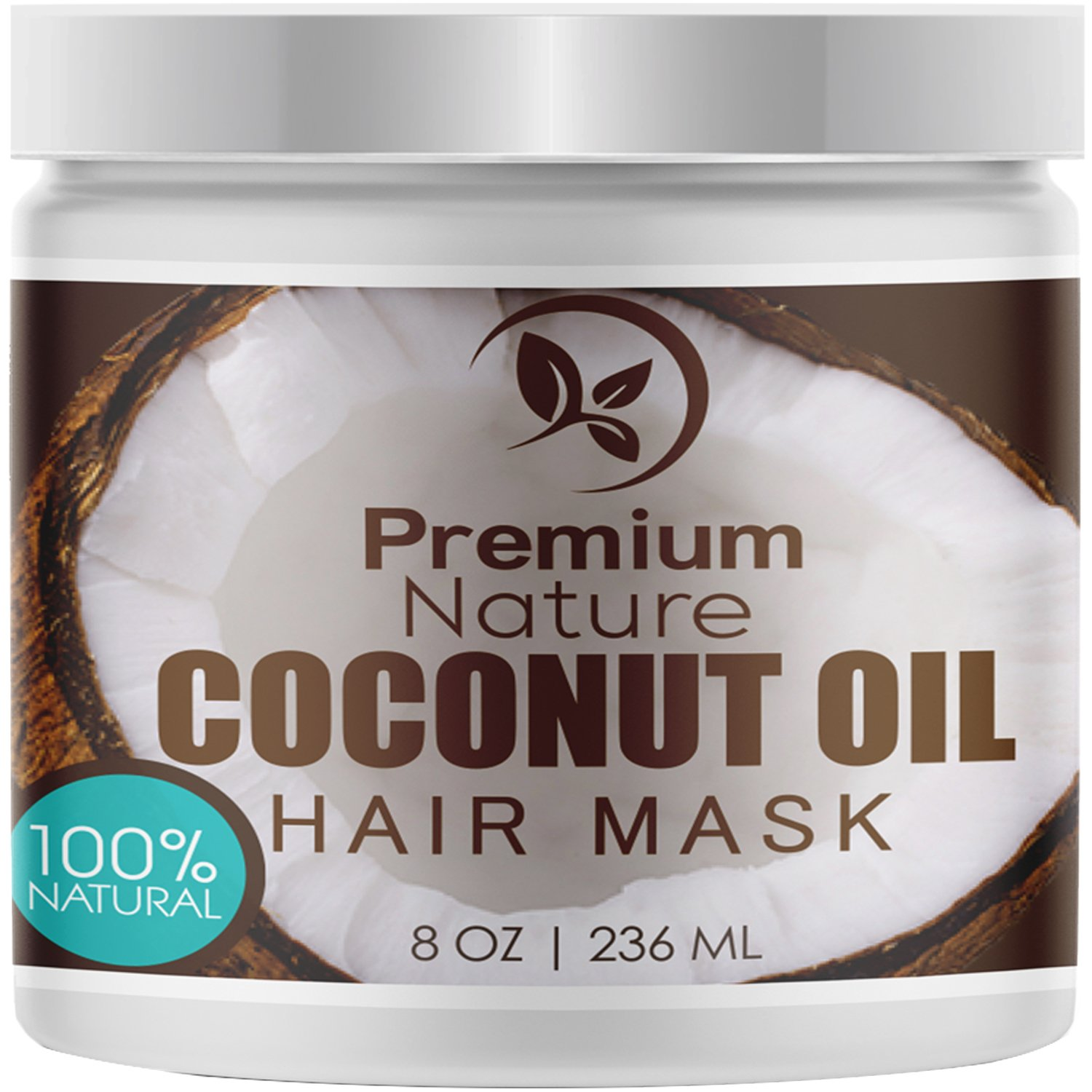 Coconut Oil Hair Mask Conditioner - Deep Conditioning Leave-In Hair Treatment for Dry Damaged Hair Care - 100% Natural Moisturizes Repairs Restores & Nourishes - Sulfate Free 8oz by Premium Nature