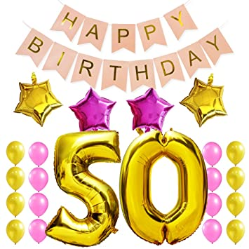 KUNGYO 50Th Birthday Party Decorations Kit Pink Happy Brithday BannerNumber 50 Golden Mylar