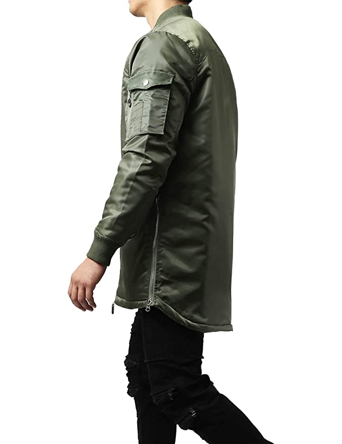 134a31f70 Hat and Beyond Mens Longline Bomber Jacket Casual Hip Hop Quilted ...