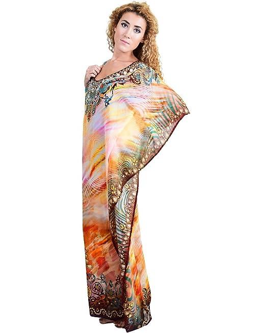 Bayside Barcelona Marrón Vestido de Baño de Traje de Baño de Verano Kimono Largo Kaftan de Impresión Digital de Las Mujeres: Amazon.es: Electrónica