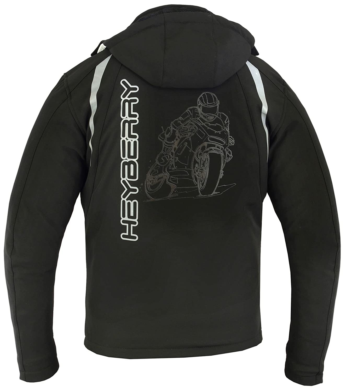 M HEYBERRY Soft Shell Motorradjacke Textil Schwarz//Wei/ß Gr