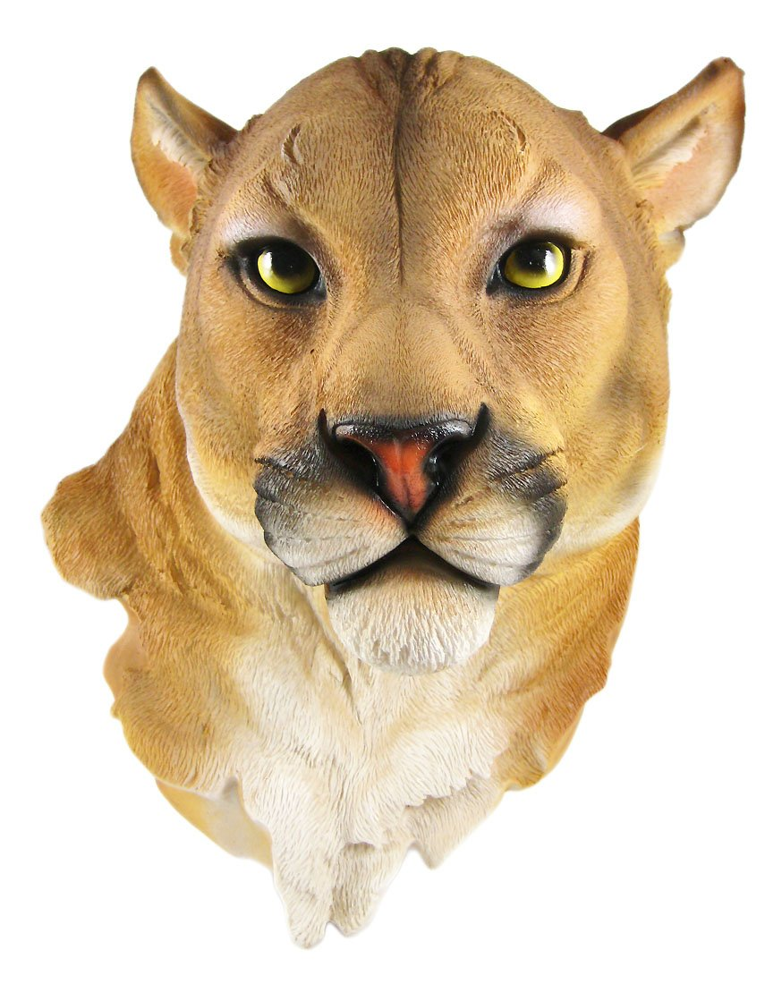 Mountain Lion Head Mount Wall Statue Bust