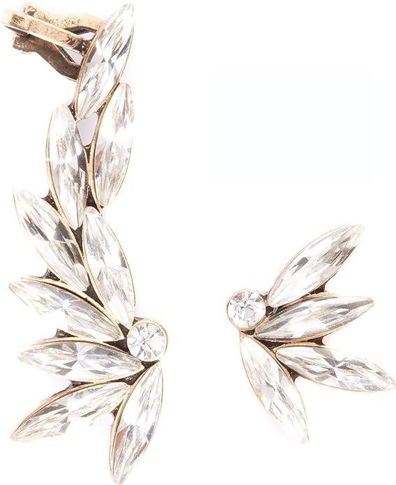 Sophia Crystal Ear Cuff No Piercing Bridal Ear Cuff Modern Boho Jewelry Earcuff Ear Crawler Crystal Earrings Ear Climber Gift for Her