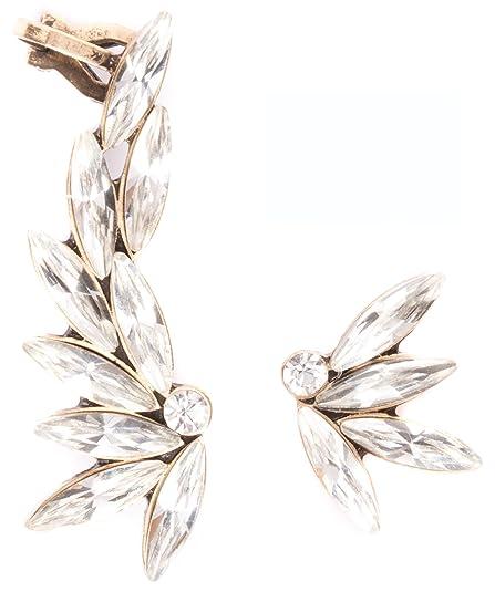 Amazon.com: Asymmetrical Ear Cuff Earrings in Clear Color | Ear ...