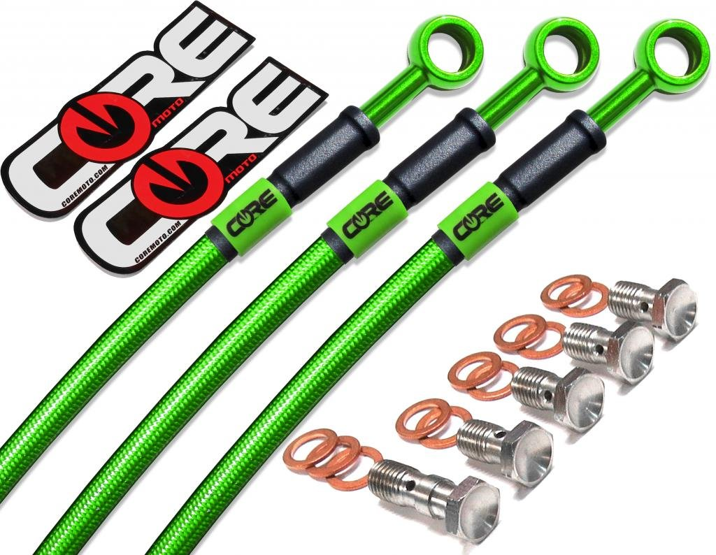 Core Moto Translucent Green Kawasaki ZX10R 2006-2007 Performance Brake lines Front and Rear Combo