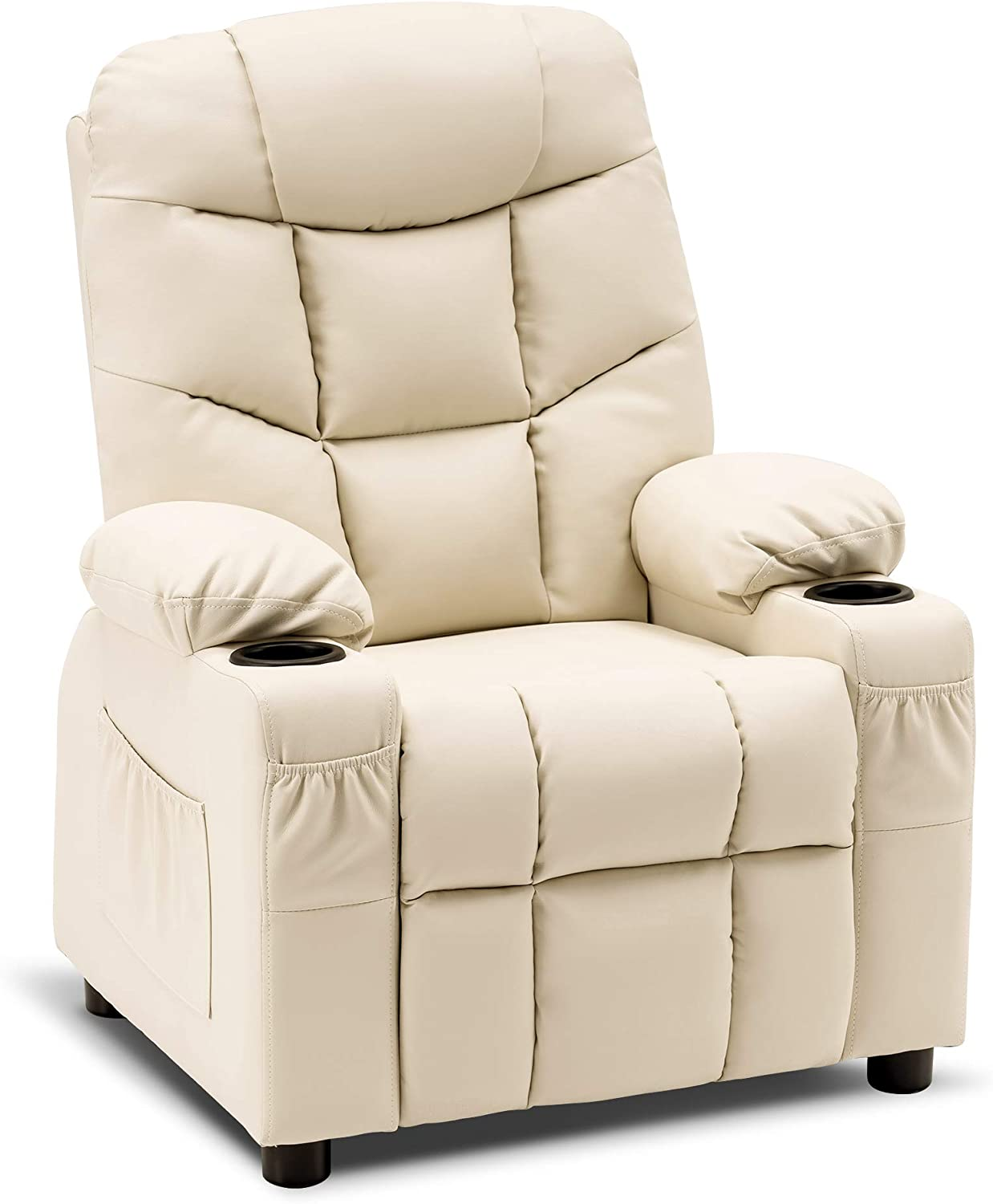 Mcombo Big Kids Recliner Chair with Cup Holders for Boys and Girls Room, 2 Side Pockets, 3+ Age Group,Faux Leather 7366 (Cream White)