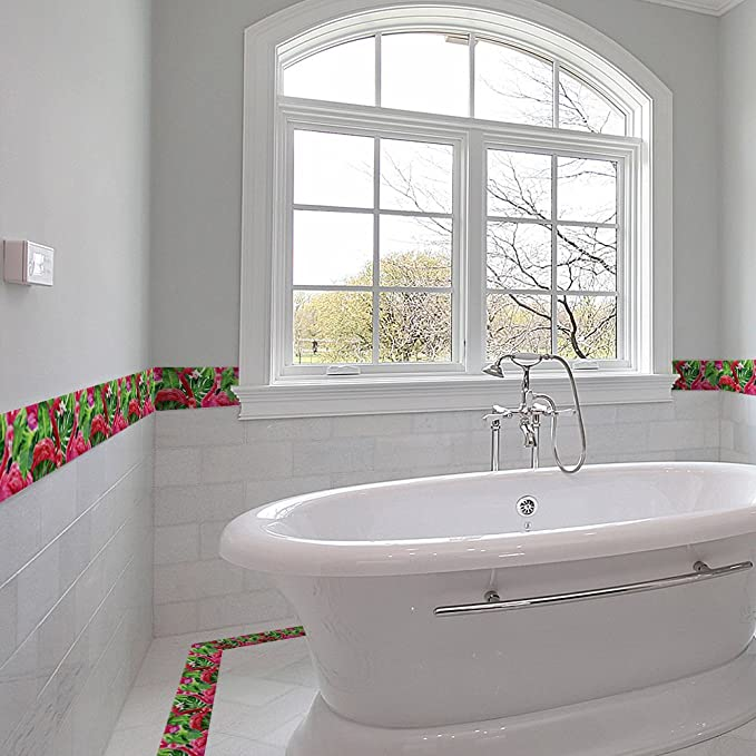Cenefa de pared autoadhesiva flamencos colores y diseños alegre y actual ideal dormitorio, escaleras, baños, cocinas, lofts, desvanes, despensas 10 cm x 2 m mil ideas de CHIPYHOME: Amazon.es: Bricolaje y herramientas