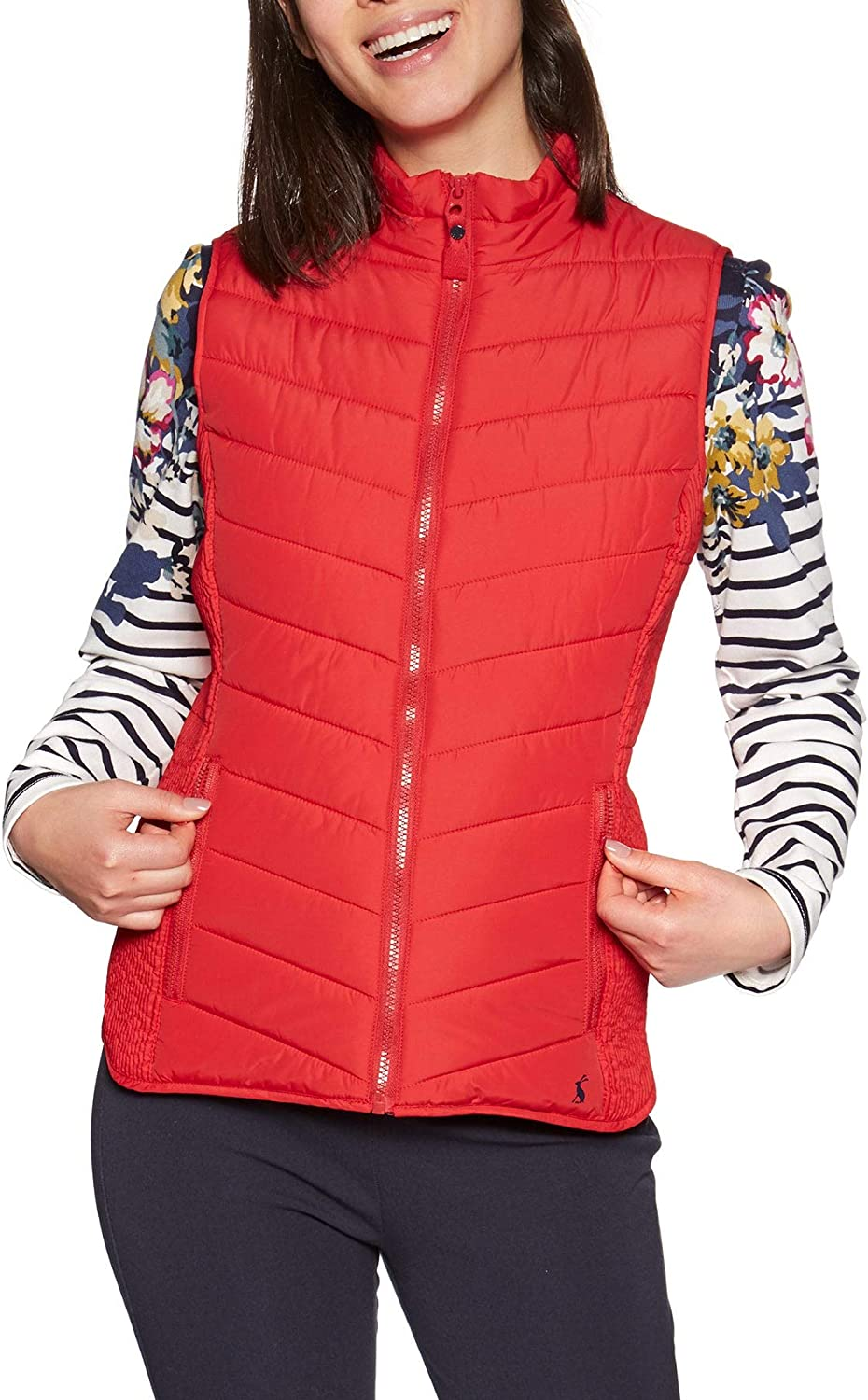 Joules Fallow Red Padded Gilet with Funnel Neck Size 10