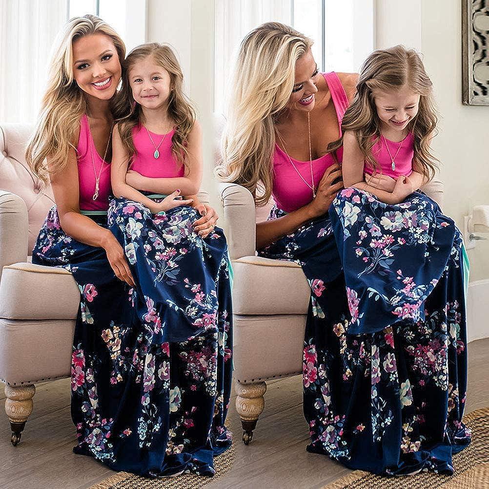 ORANDESIGNE Donna Estate Senza Maniche Vestito per Madre e Figlia Casual Stampa A-Line Prom Abiti Famiglia Abito da Sera Partito