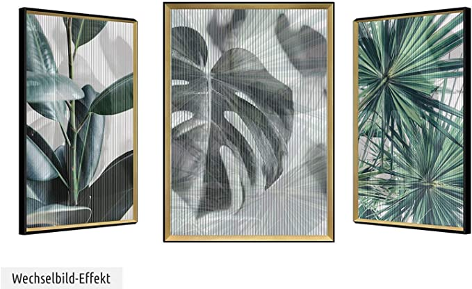 Kunstloft® Imagen lenticular 3D Boost of Being 63x83cm | Cuadro Hecho a Mano con Aspecto Vintage | Helecho Trópico Gris Negro | Imagen Pared lenticular con Marco: Amazon.es: Hogar