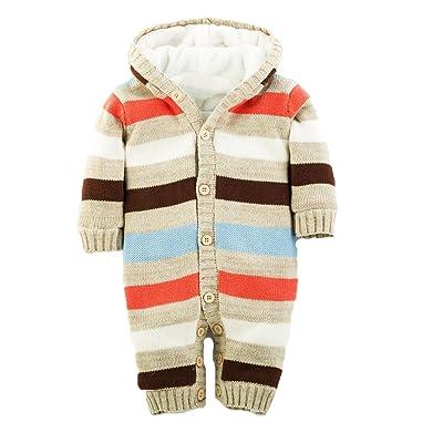 Ann sang® Pull tricot Manteau d'hiver pour bébé en polaire pour intérieur bleu beige 12-18 mois