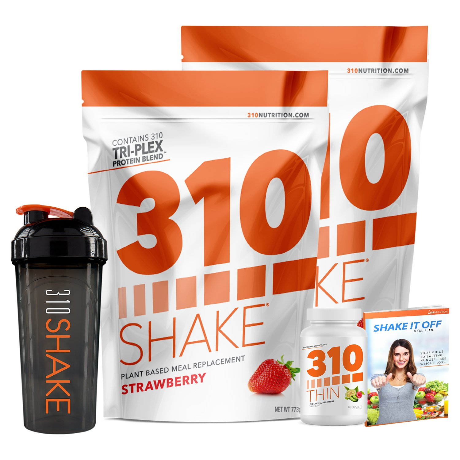 Strawberry Meal Replacement | 310 Shake Protein Powder is Gluten and Dairy free, Soy Protein and Sugar Free | Includes 310 Thin, Shaker and Free Recipe eBook