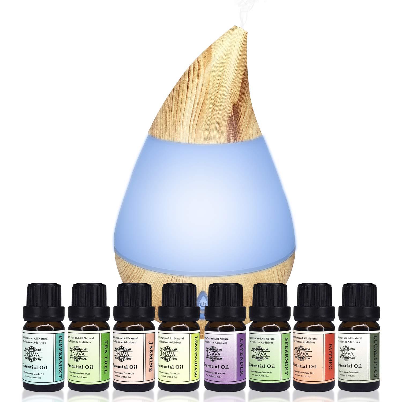 Enava Aromatherapy Essential Oil Diffuser 120ml and Top 8 Oils Gift Set - Waterless Auto Shut-Off and 7 color LED Eucalyptus-Lavender-Spearmint-Jasmine-Peppermint-Tea Tree-Nutmeg-Lemongrass