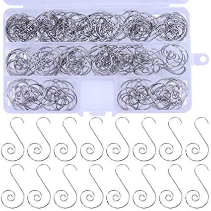 Amazon Com 120 Pcs Christmas Tree Ornament Hooks Spiral Hook Metal