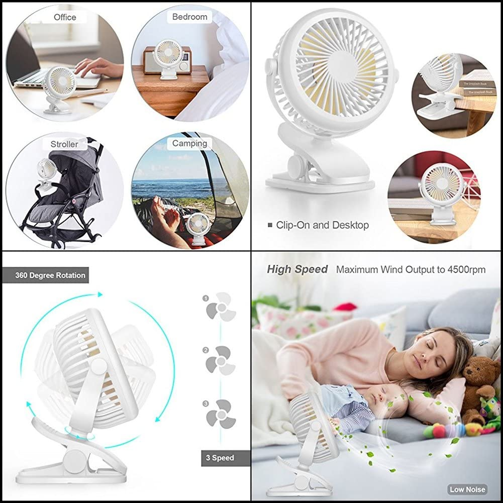 Clip Fan and Desk Fan 2 in 1 6-Inch Mini Portable USB or 2000mAh Rechargeable Battery Powered Fan with Micro USB Cable 360 Degree Rotation for Baby Stroller Car Gym Office Outdoor Traveling Camping