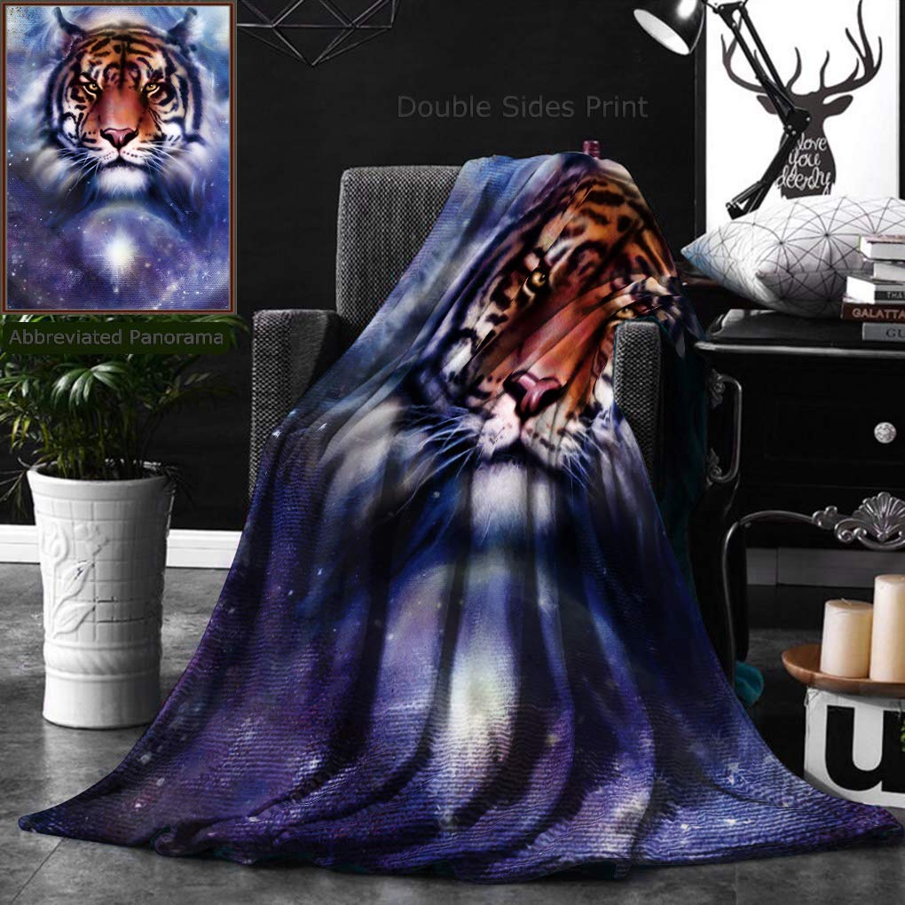 Ralahome Unique Custom Double Sides Print Flannel Blankets Painting Fire Tiger On Color Space Background Wildlife Animals Super Soft Blanketry for Bed Couch, Twin Size 60 x 80 Inches