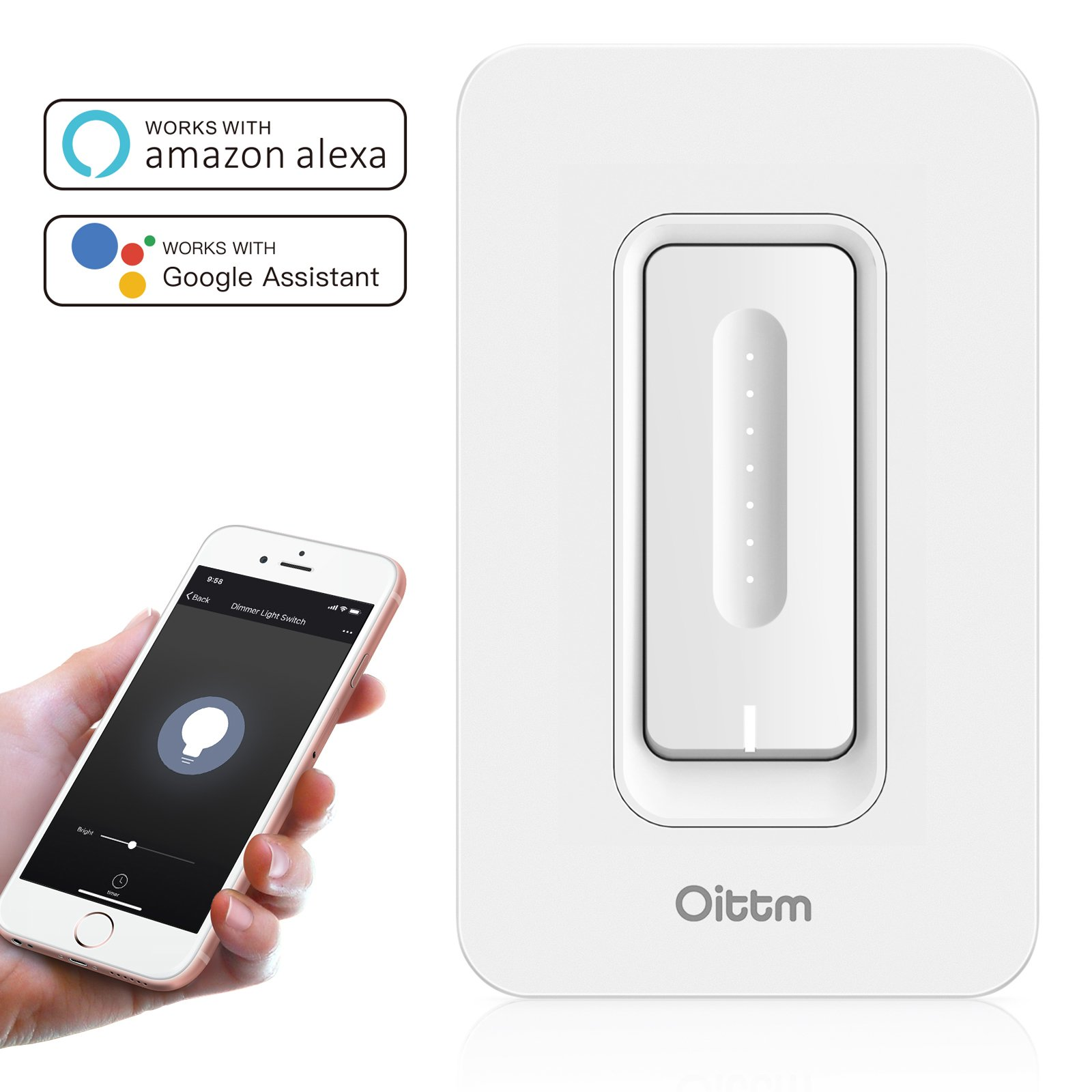 Oittm Dimmer Wi-Fi Light Switch, Smart Dimmer Switch Lighting Control from Anywhere, No Hub Required, 400W Incandescent/150W LED (Replace Single-Pole Only), Works With Alexa and Google Assistant
