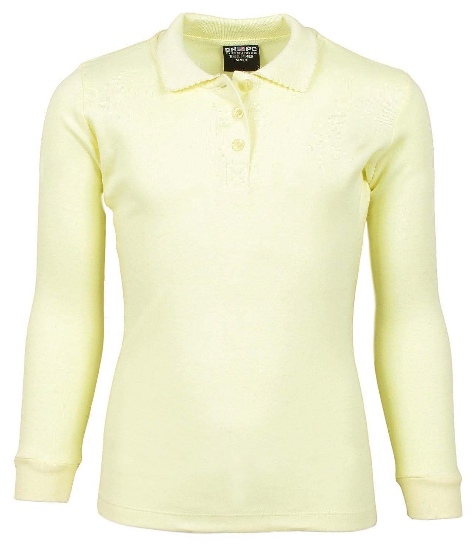 3 Pack Beverly Hills Polo Club Girls Long Sleeve School Uniform Knit Polo Shirts