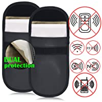 Car Key Signal Blocker Case 2 Pack Secure Signal Blocker Pouch Bag RFID Blocking Credit Card Protector Antitheft Lock Devices Block Any Signal of WIFI/GSM/LTE/NFC/RFID, Black & White