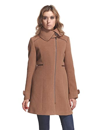17add5427667d Amazon.com: ZAREEN Women's Camel Wool Coat with Petal Collar: Clothing