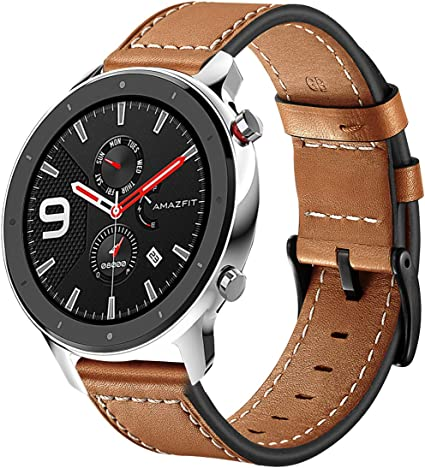 Kartice Compatible with Amazfit GTR 47mm Band Genuine Leather Replacement Strap Buckle Wrist Bands for Amazfit GTR 47mm Fitness Smartwatch (Brown)