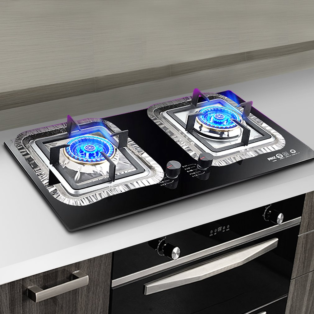 gas stove burner cover. Aprince Stove Burner Covers, 40 Pieces Aluminum Foil Square Gas Disposable Thicker Bib Liners Covers For Top, 8.7\ Cover