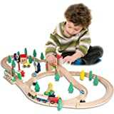 FUNPENY 60 Pcs Wooden Train Set, Colorful Wooden Train Set Table Tracks, Trains, Cars, Boats, and Accessories for Kids…