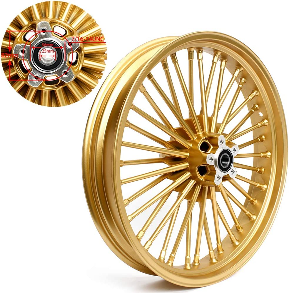 Road Glide All Models with 25mm Bearings and DUAL DISC 1984-2020 TARAZON Gold Front 21x3.5 Fat Spoke Wheel for Harley Ultra Electra Glide Road King