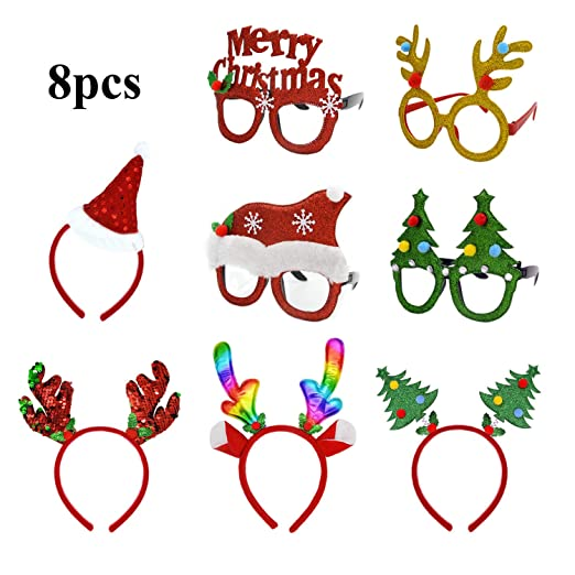 119741d67e4de U-Goforst 8 PCS Christmas Holiday Party Fancy Headband Hats Glasses Frames  Reindeer Antlers Photo