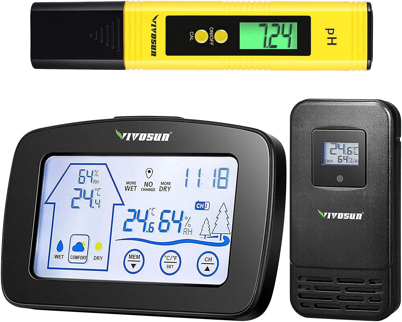 VIVOSUN Digital PH Meter and Thermometer Hygrometer