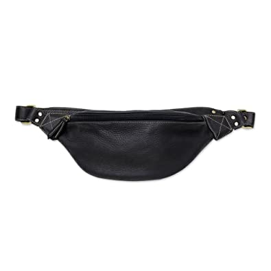 13580ff14239 Amazon.com: NOVICA Black Leather Waist Bag, Easy Travels': Shoes