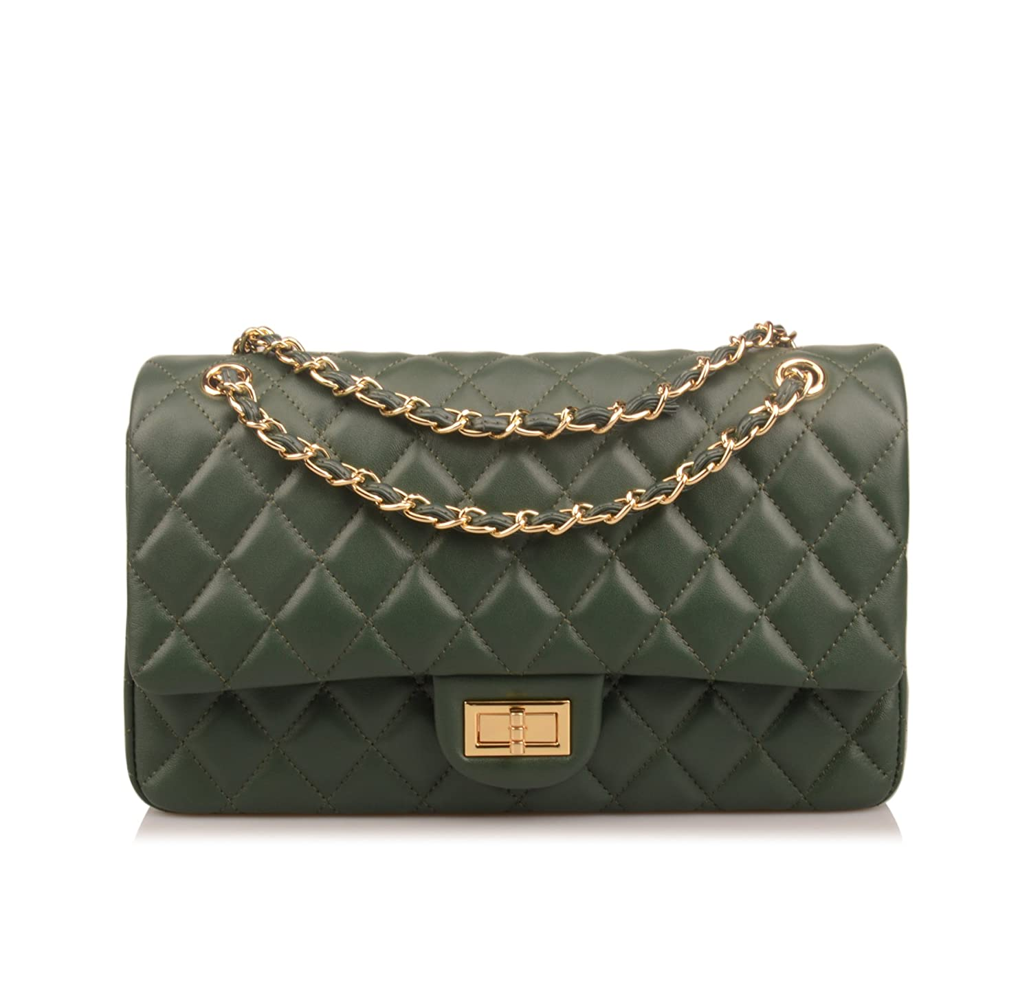 6ac6ac1ad2 Ainifeel Women s Genuine Leather Quilted Chain Bag Shoulder Handbags Purse   Amazon.co.uk  Shoes   Bags