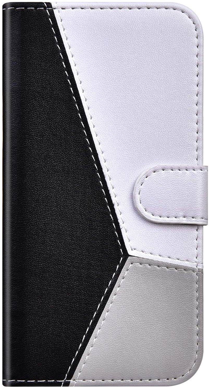 IKASEFU Compatible with Nokia 4.2 Case Color stitching Soft Pu Leather Wallet with Card Holder Colorful splice Magnetic Folio Flip Book Kickstand Protective Shockproof Cover Case Black