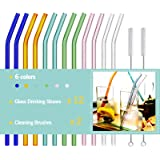 Reusable Bent Glass Drinking Straws,Set of 12 Bent Straws With 2 Cleaning Brushes,Shatter Resistant,Non-Toxic,Eco Friendly Re