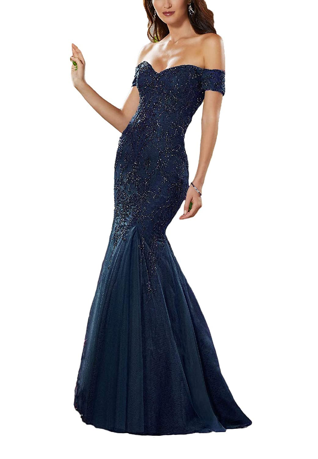 Navebluee Yisha Bello Women's Off The Shoulder Mermaid Crystal Beaded Prom Dress Long Lace Evening Formal Gowns