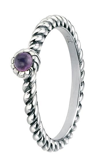 Elements Silver Sterling Silver Amethyst CZ Ring with Ball Shank k3jiHVyk3