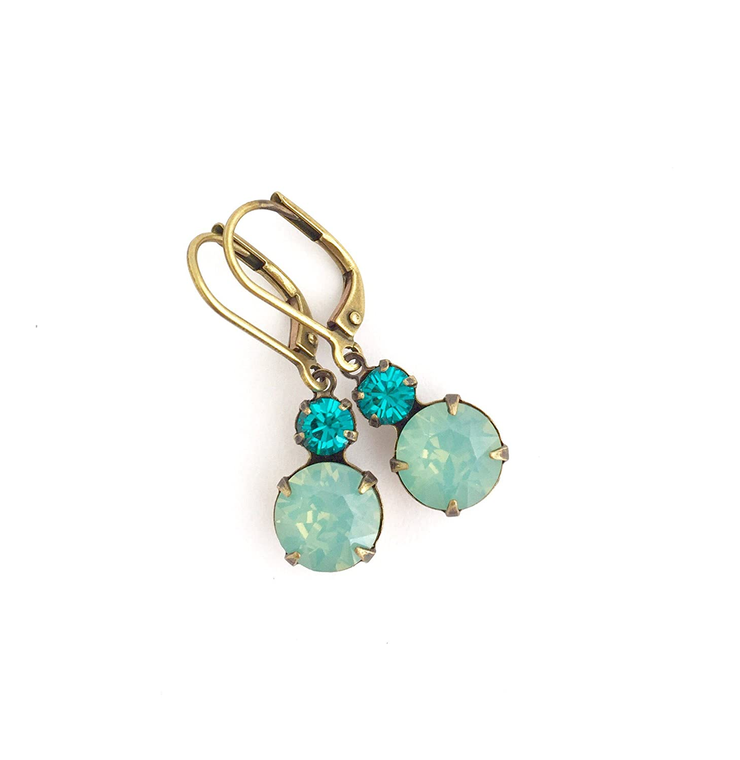Teal Green Jewel Earrings Lever-back Ear Wires