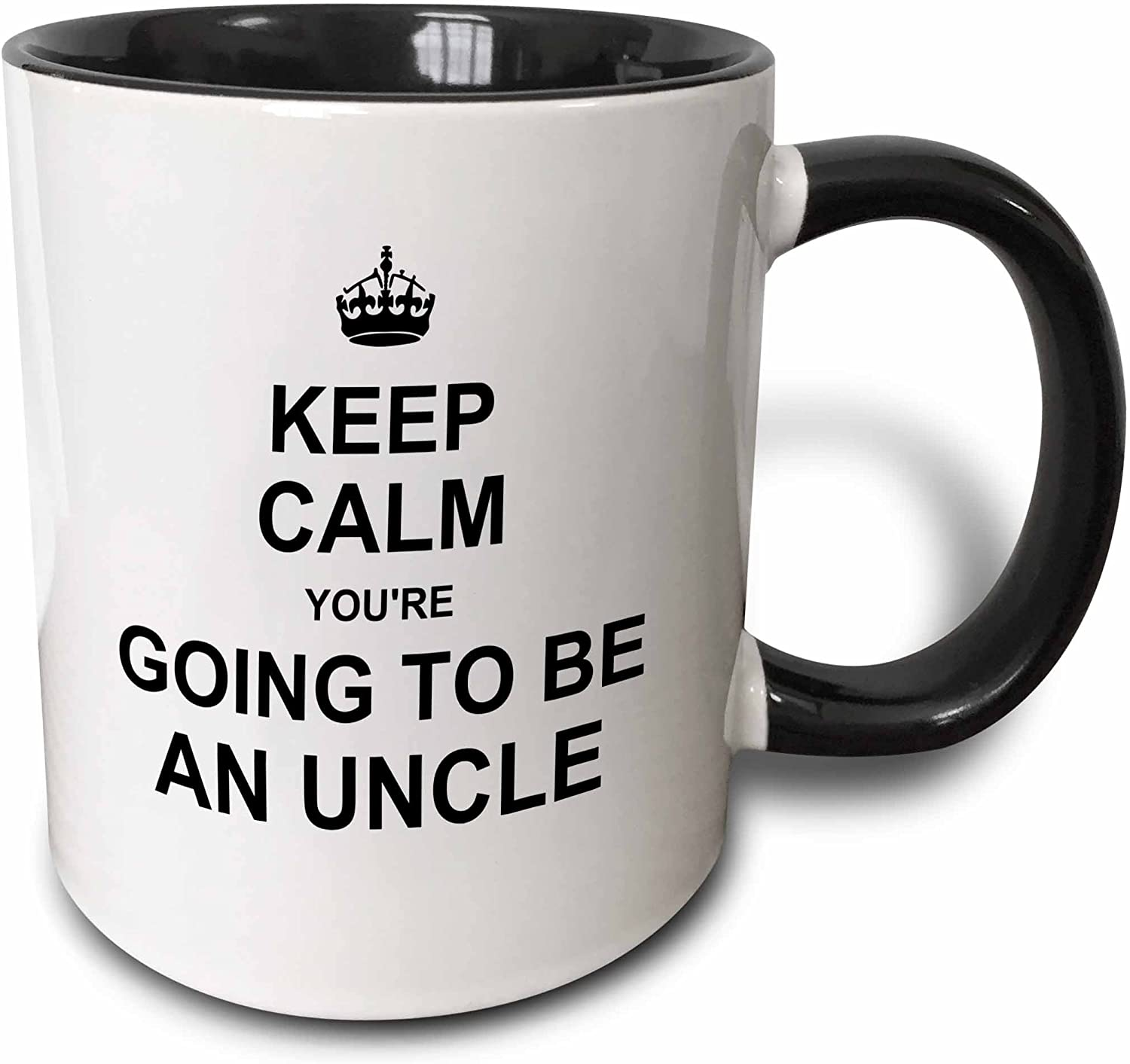 "3dRose 194462_4""Keep Calm You're going future uncle-family text gift Two Tone Mug, 11 oz, Black"